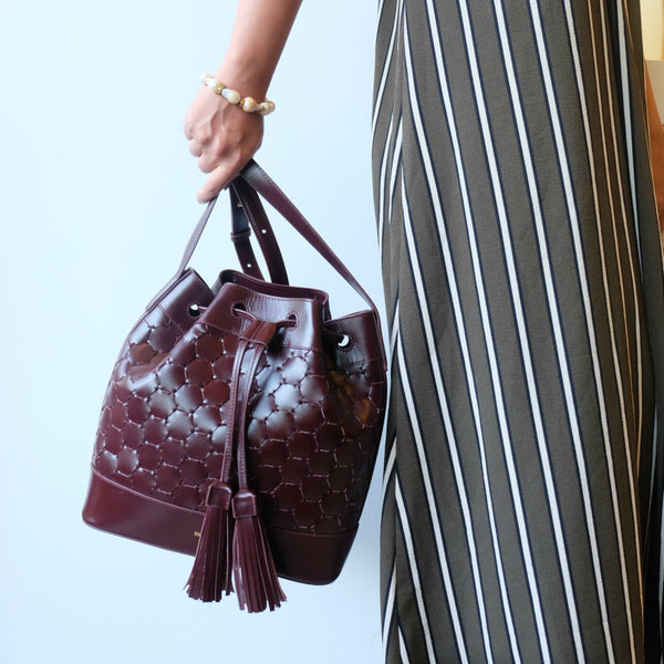 bordeaux luxury leather quality fashion drawstring bag