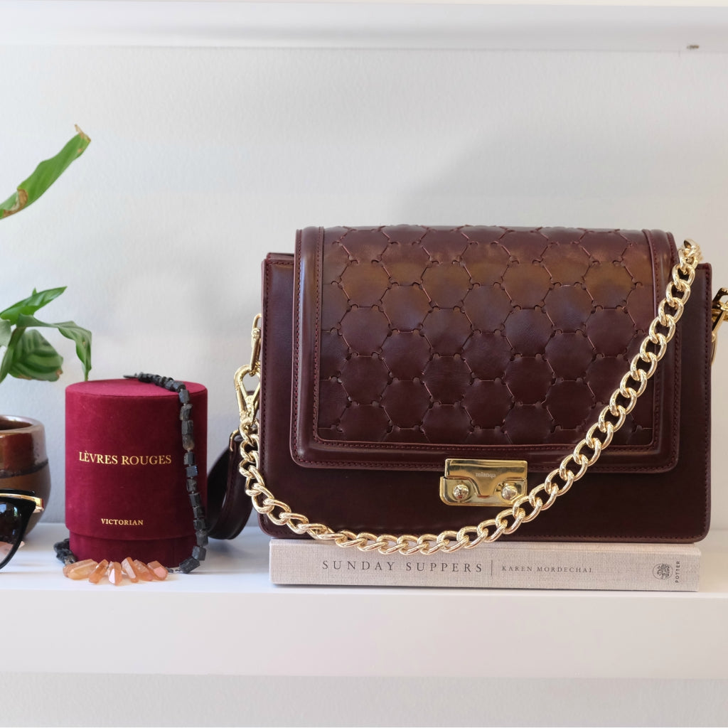 bordeaux leather luxury fashion crossbody bag sustainable