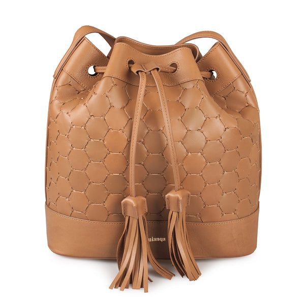 luxury leather drawstring bucket bag in tan color