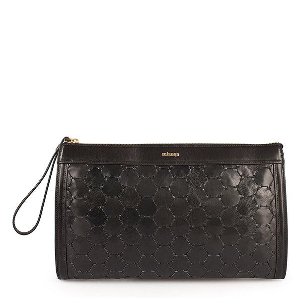luxury black leather handwoven clutch with zipper