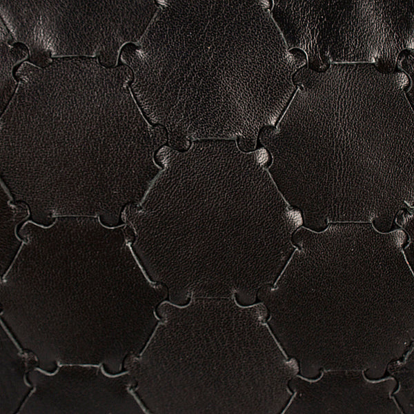 woven detail of luxury black leather handwoven clutch with zipper