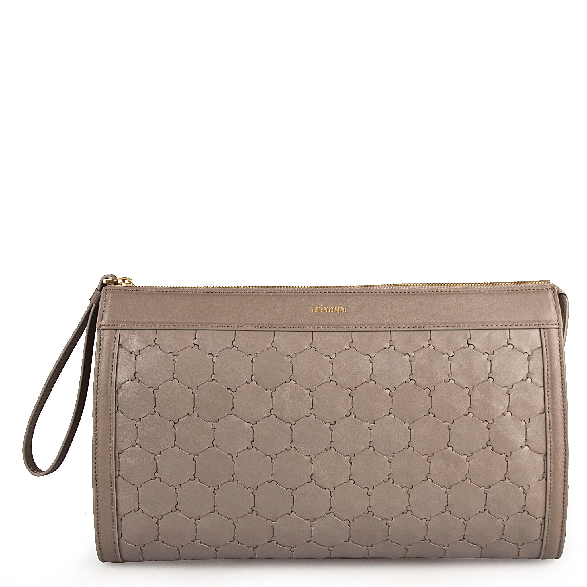 handwoven grey leather luxury clutch with zipper