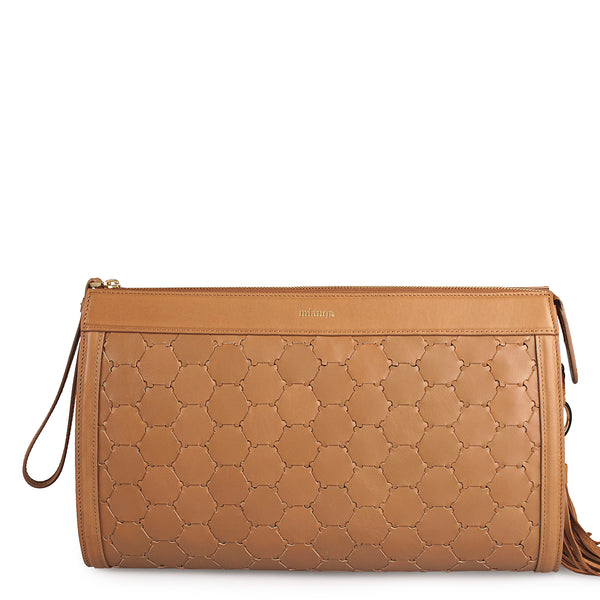 leather clutch bag in tan color