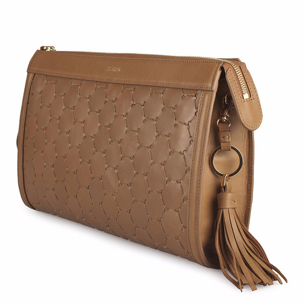 leather clutch bag with tassel in tan color side view