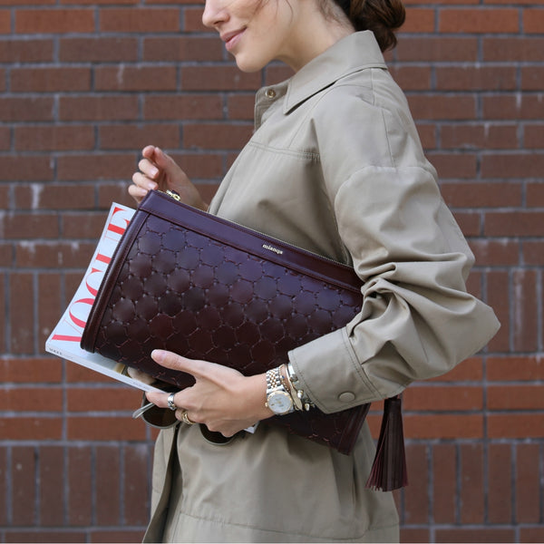 luxury woven street fashion clutch bag handmade with bordeaux leather
