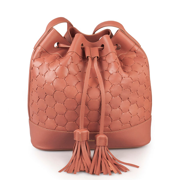 handmade luxury leather drawstring bag in antique pink