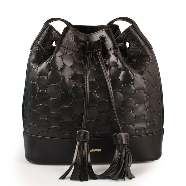 handmade and handwoven leather bucket bag in black luxury leather