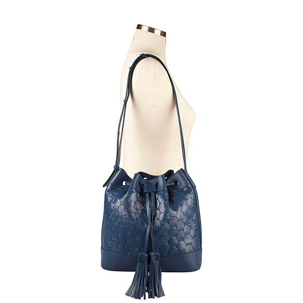 luxury leather handwoven bucket bag blue