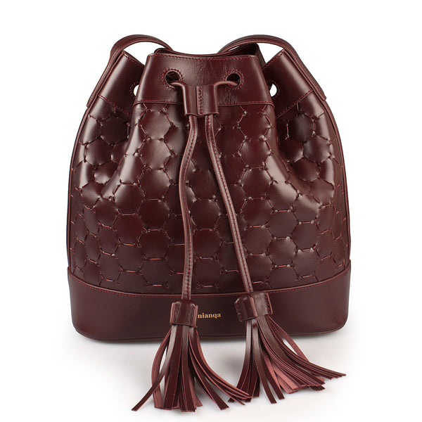 luxury leather handwoven bucket bag bordeaux