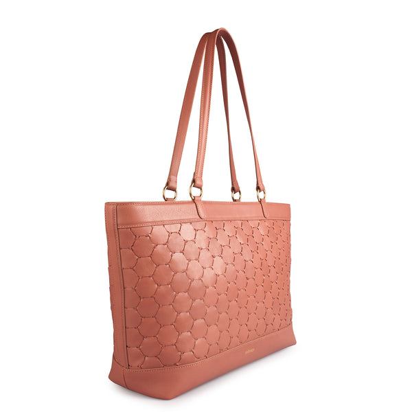 antique pink luxury leather tote bag with handwoven body