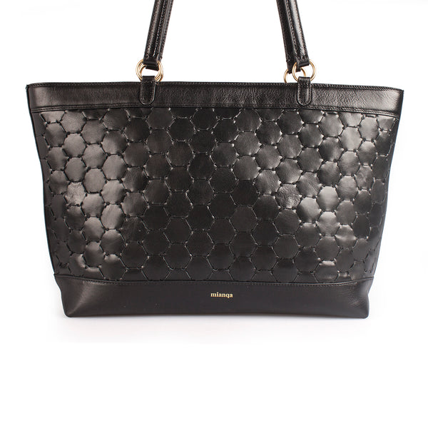 luxury black leather tote bag with handwoven body