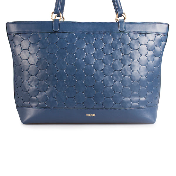 blue luxury leather tote bag with handwoven body