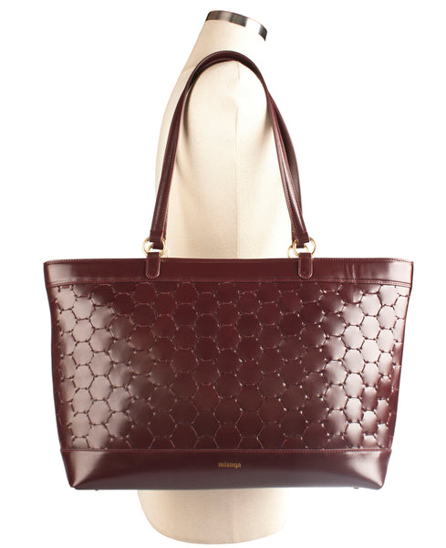 bordeaux luxury leather tote bag with handwoven body