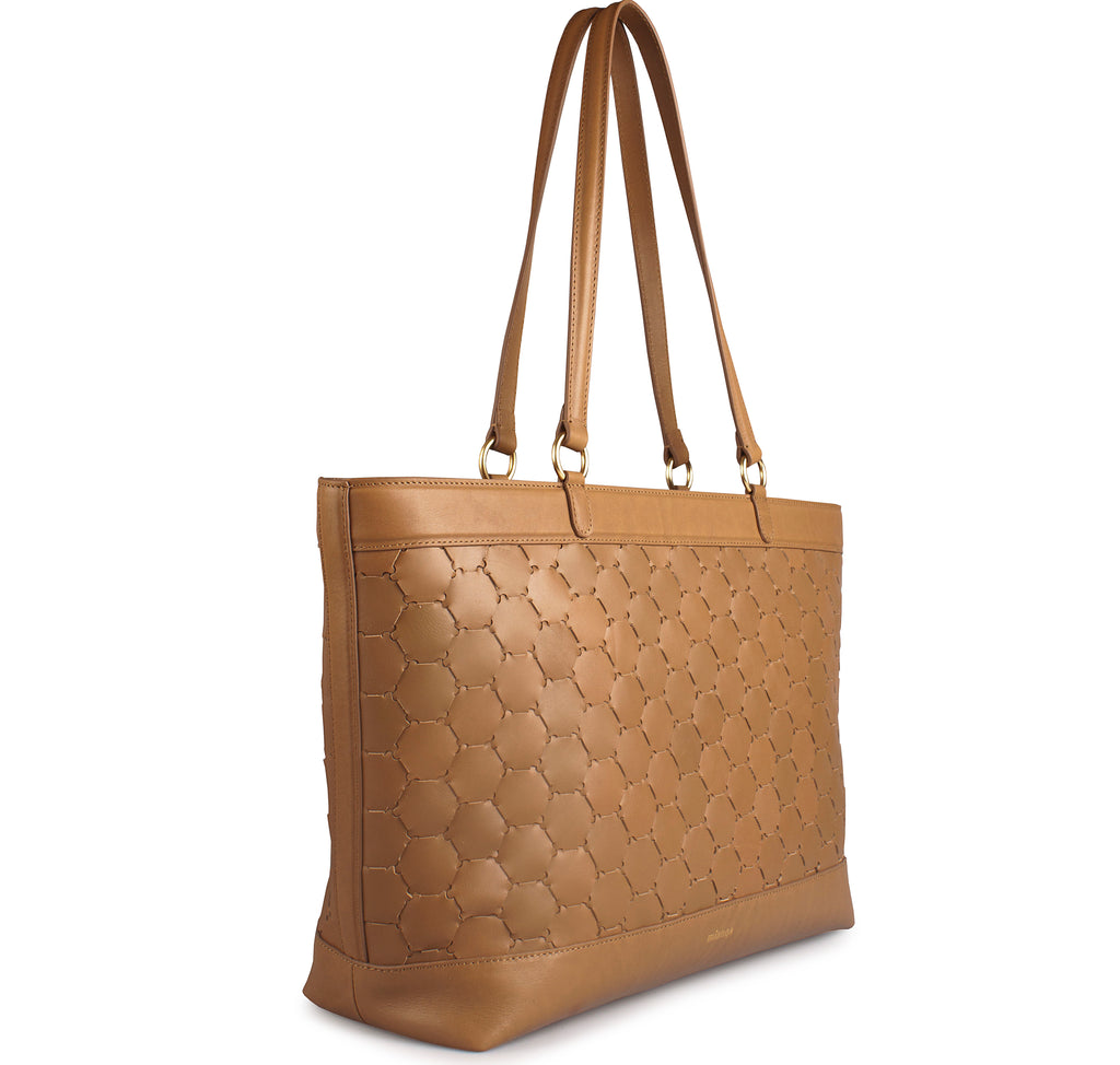 luxury tan leather tote bag with handwoven body