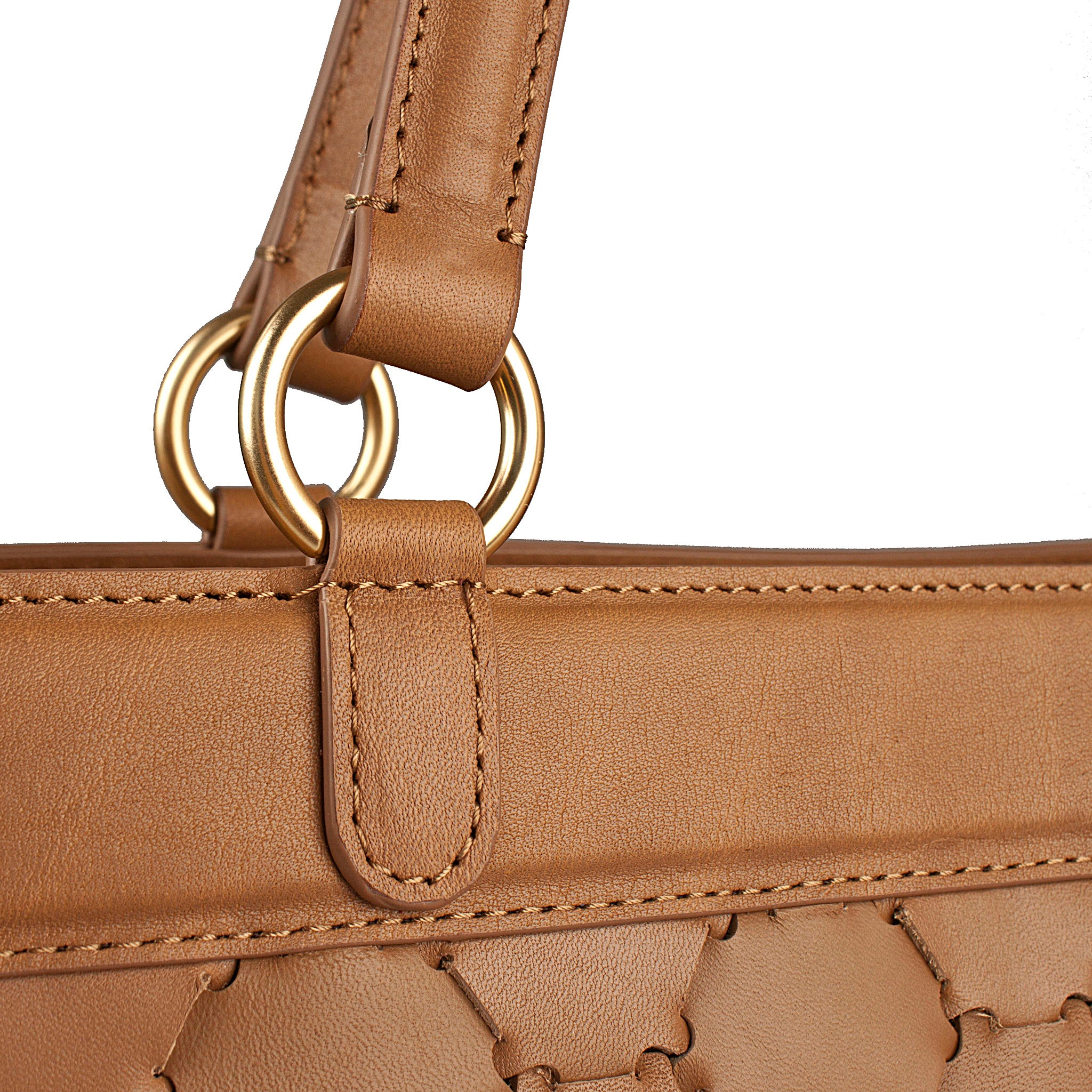strap detail of luxury tan leather tote bag with handwoven body