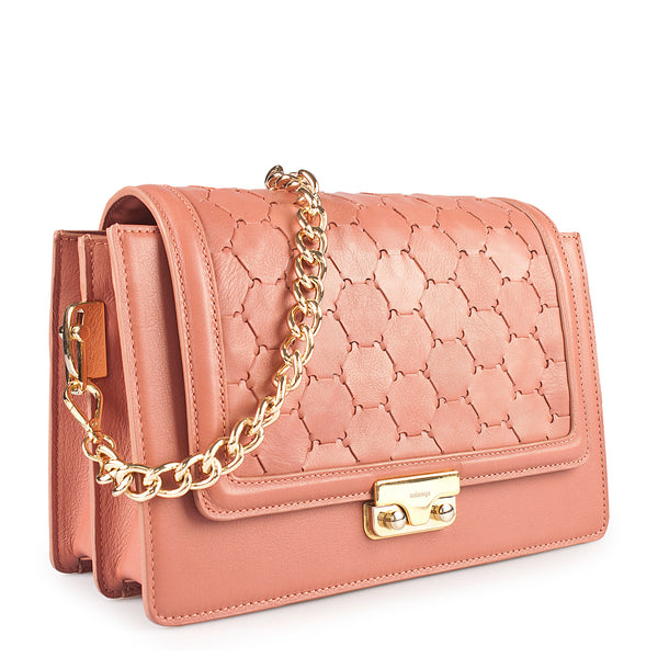 luxury leather crossbody bag with handwoven flap and chain handle