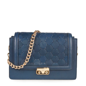 luxury leather crossbody bag with handwoven flap and chain handle blue