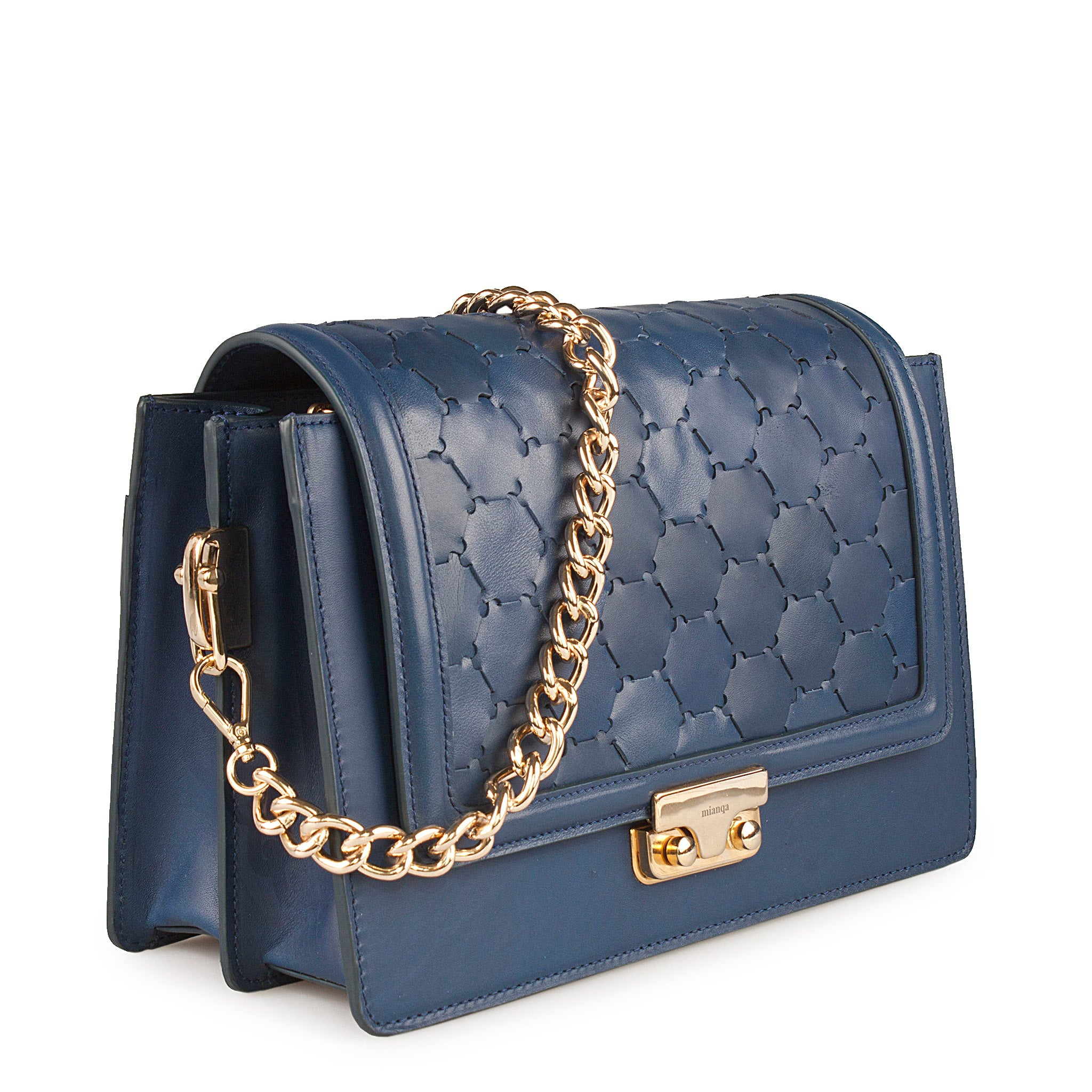 blue luxury leather crossbody bag with handwoven flap and chain handle