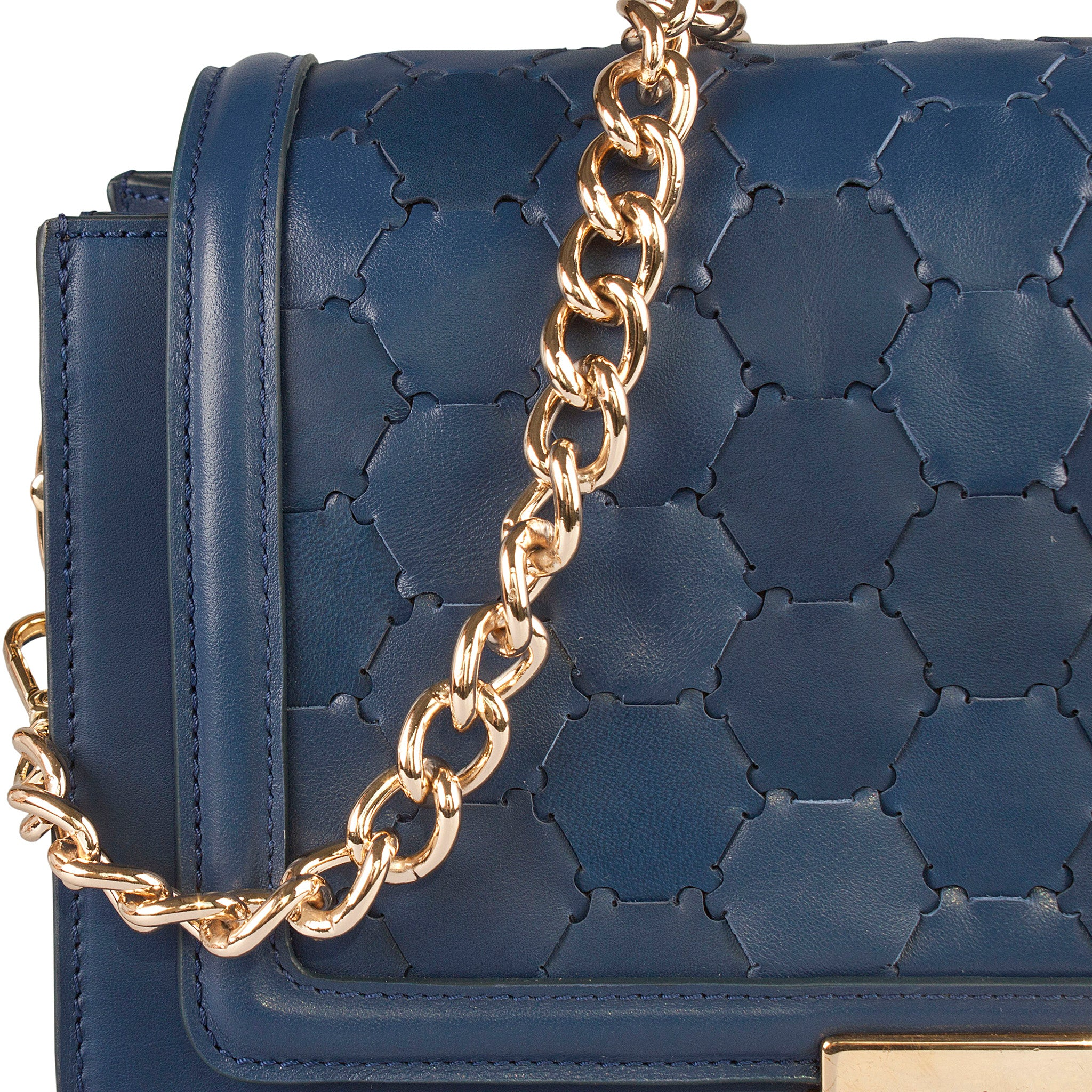 blue luxury leather crossbody bag with handwoven flap and chain handle detail view