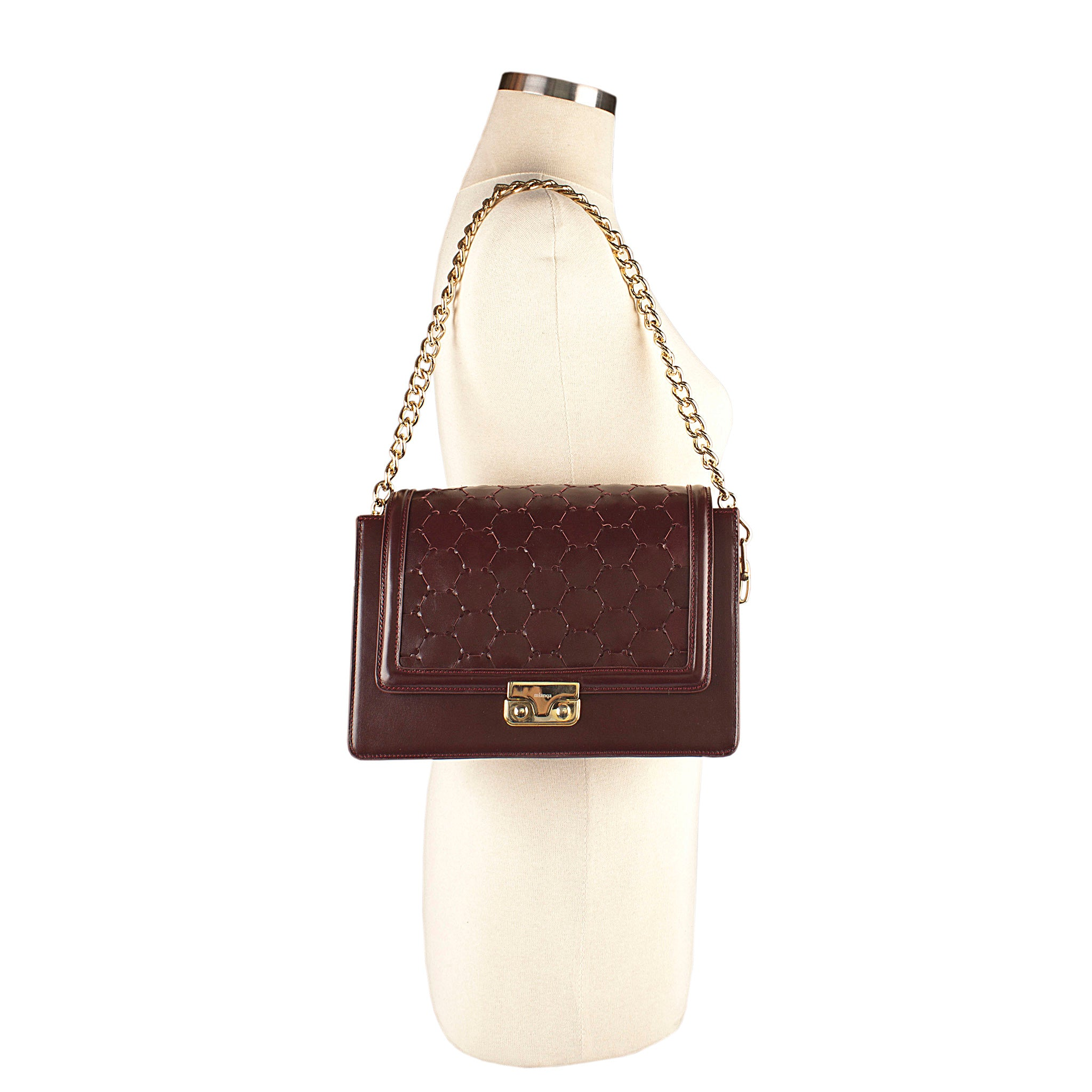 bordeaux luxury leather crossbody bag with handwoven flap and chain handle