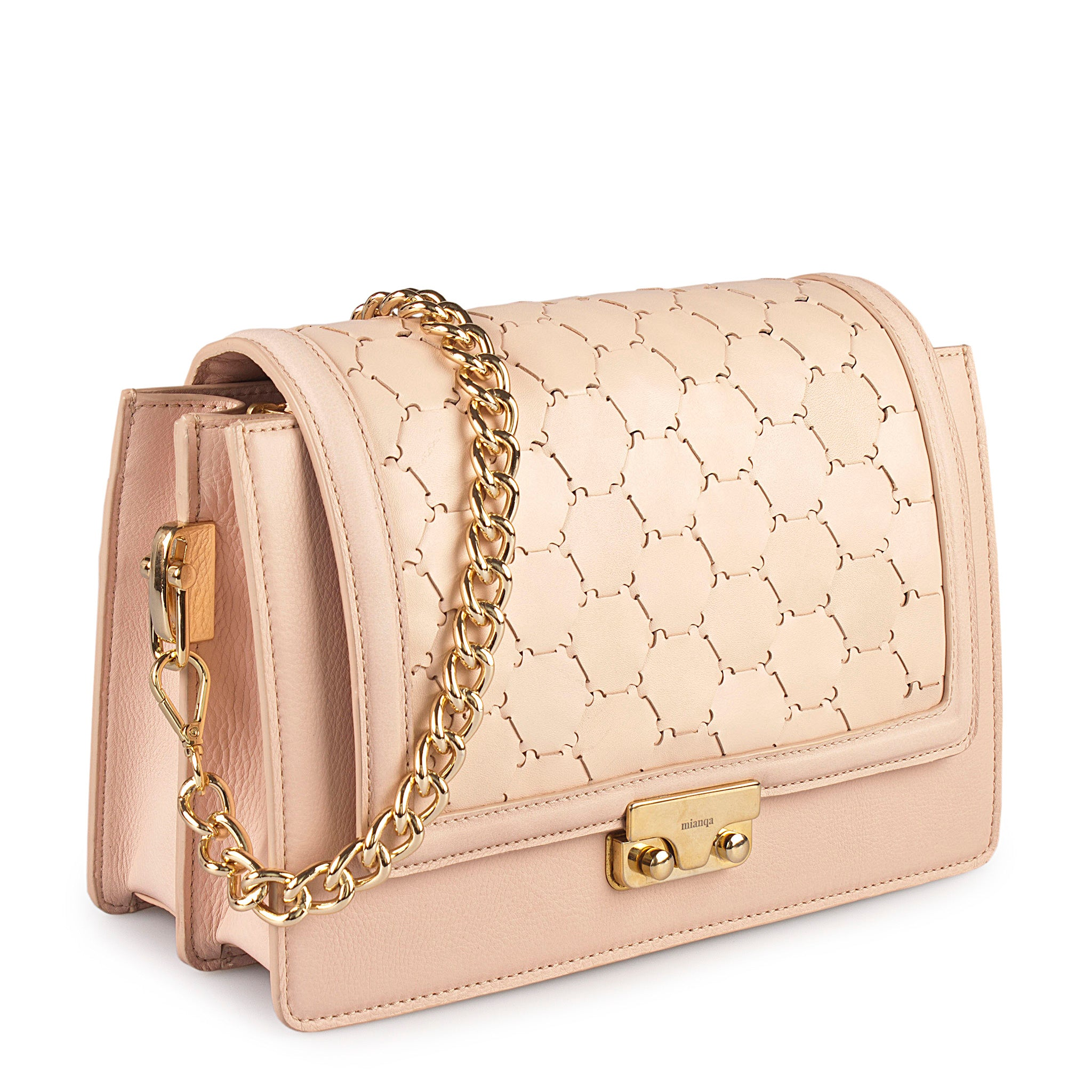 pink luxury leather crossbody bag with handwoven flap and chain handle