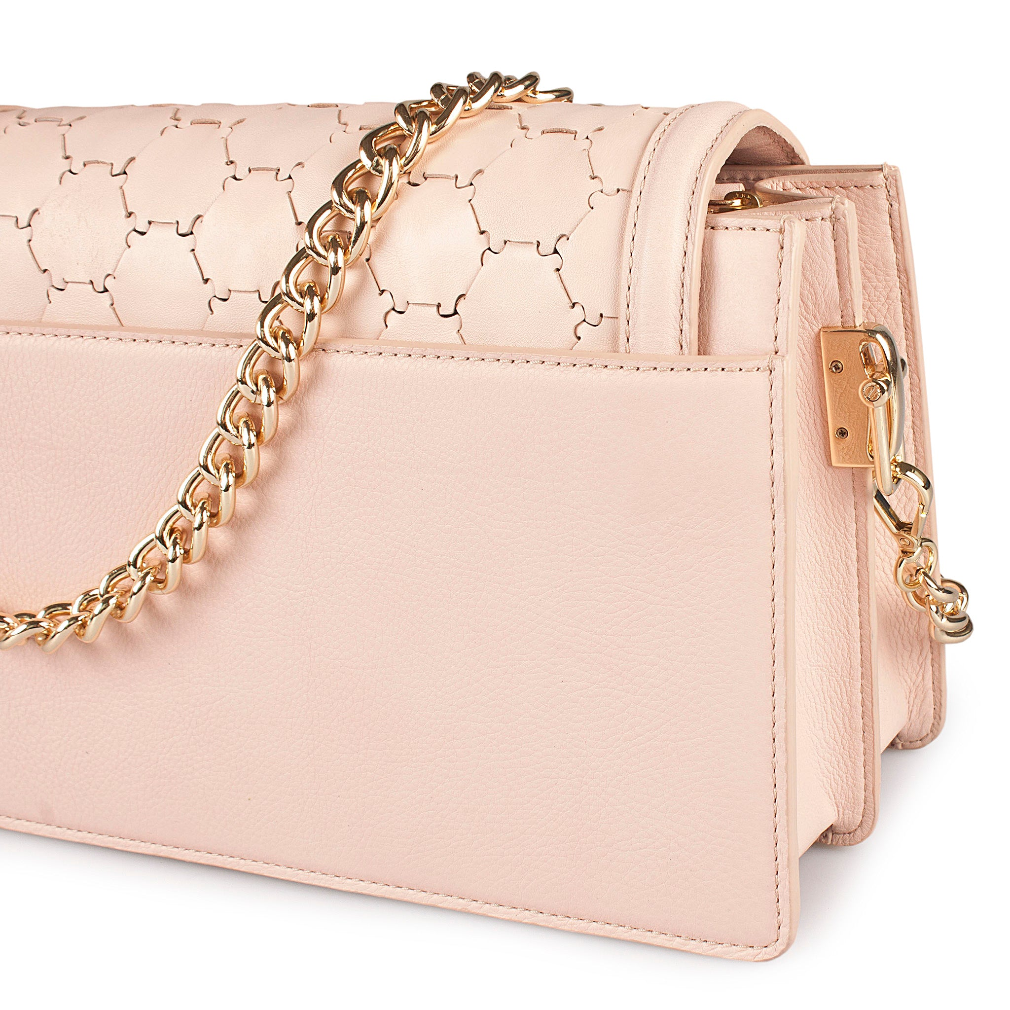 pink luxury leather crossbody bag with handwoven flap and chain handle detail