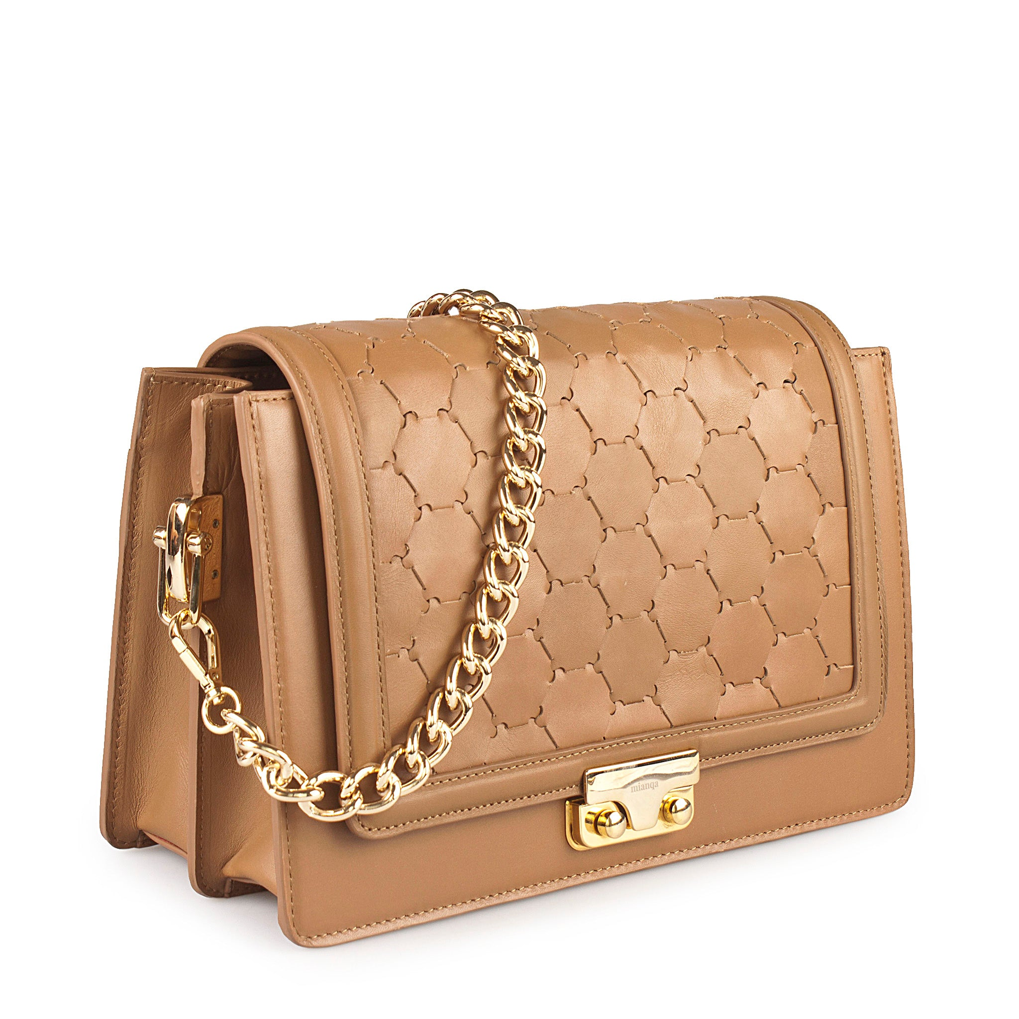 luxury leather tan crossbody bag with handwoven flap and chain handle