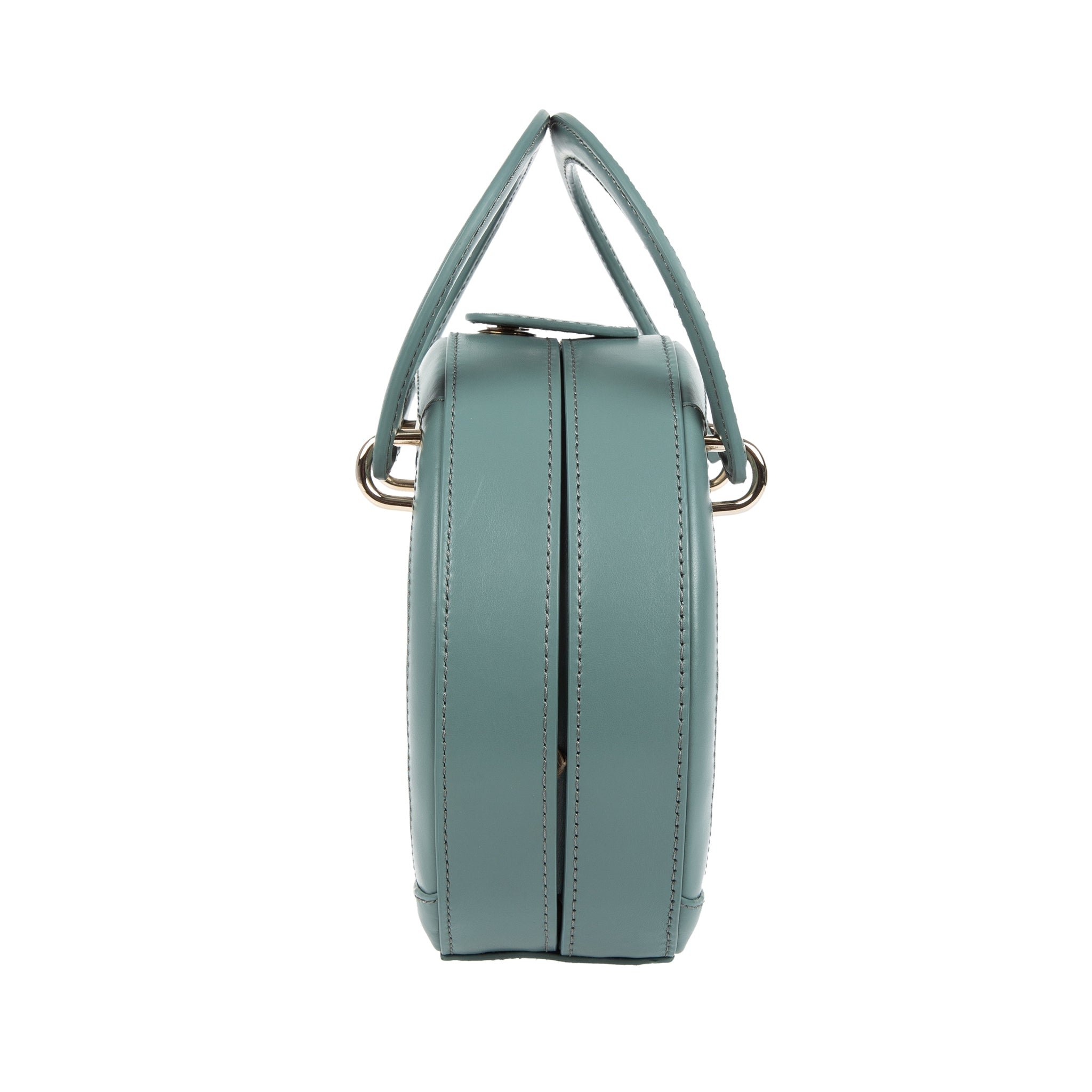 H A L I D E | Leather Circle Crossbody Bag Blue