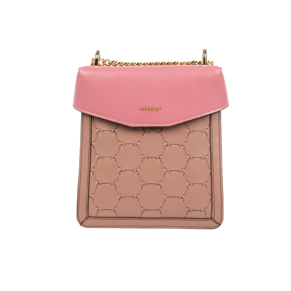 F U R E Y A | Leather Crossbody Bag Camel/ Pink