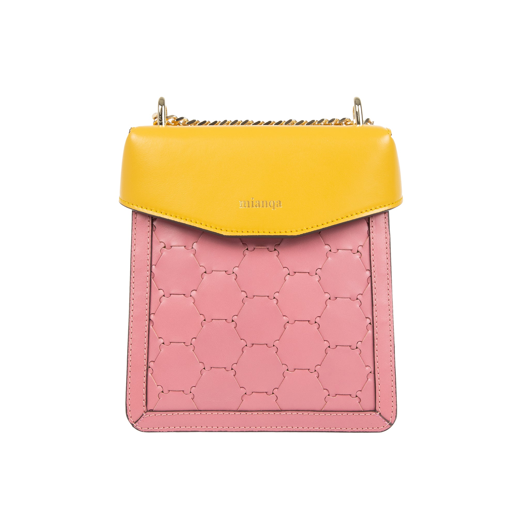 F U R E Y A | Leather Crossbody Bag Pink/Yellow