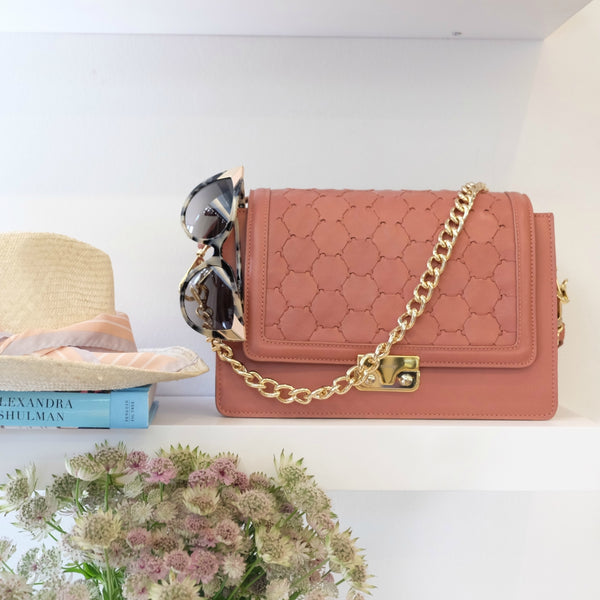 pink leather crossbody bag with flap chain