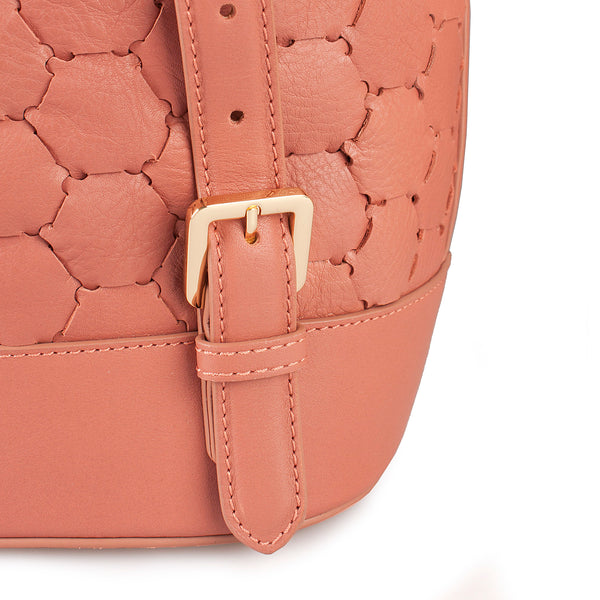 handmade handwoven luxury leather backpack with flap in pink color back detail