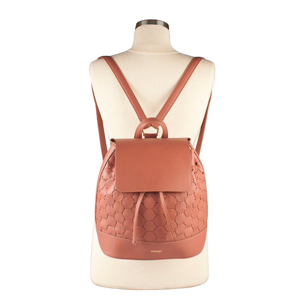 handmade handwoven luxury leather backpack with flap in pink color