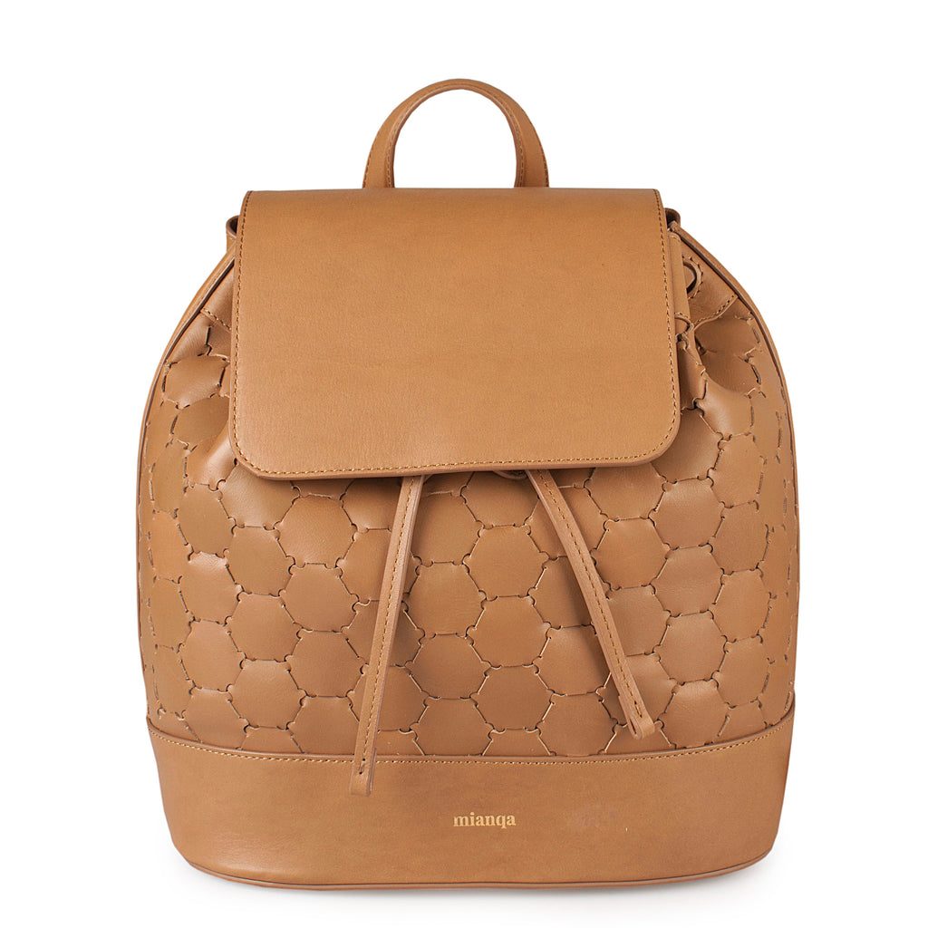 luxury leather backpack with flap tan color
