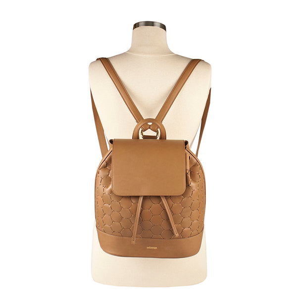 luxury leather backpack with flap tan