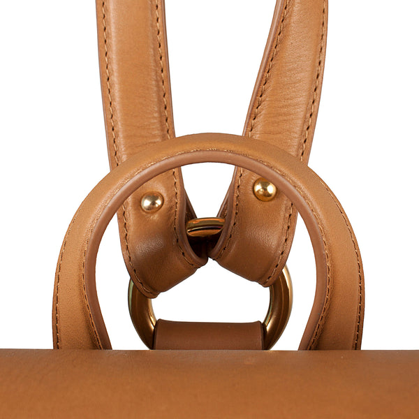 luxury leather backpack with flap tan color strap detail