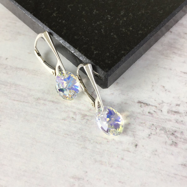 Silver Earrings with Aurore Boreale Oval Swarovski Crystal