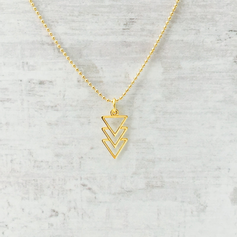 Gold Triangle Pyramid Necklace - KookyTwo