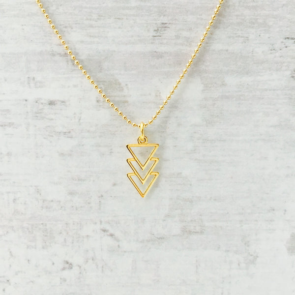 Gold Triangle Pyramid Necklace