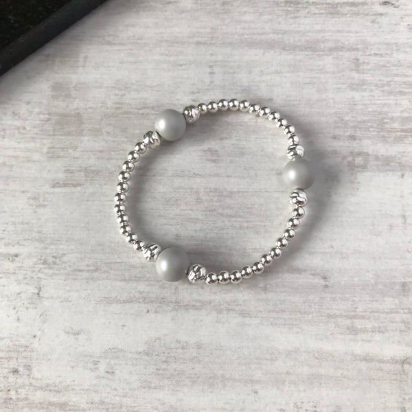 Silver Bead and Swarovski Grey Pearl Bracelet