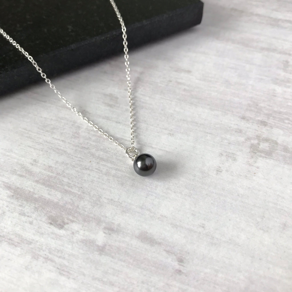 Silver and Metallic Black Swarovski Pearl Drop Necklace - KookyTwo