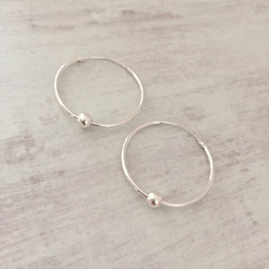 Silver Shiny Bead Hoop Earrings - KookyTwo
