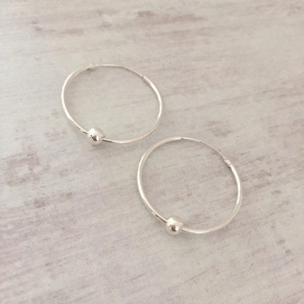 Silver Shiny Bead Hoop Earrings