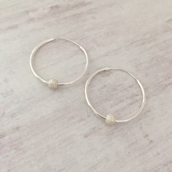 Silver Stardust Bead Hoop Earrings - KookyTwo