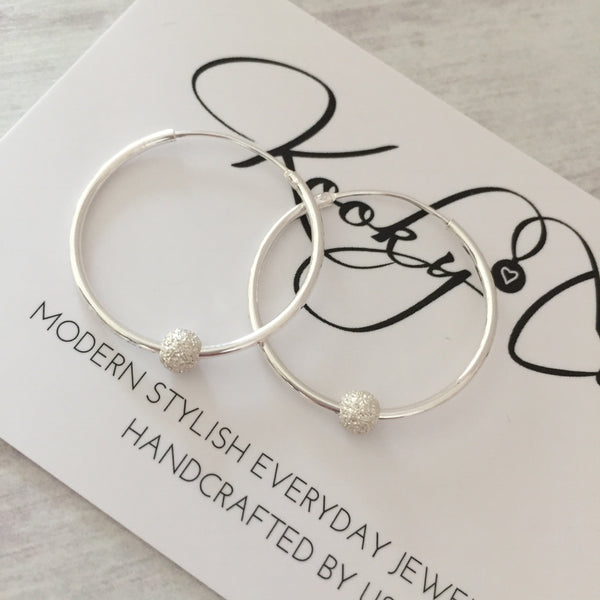 Silver Stardust Bead Hoop Earrings