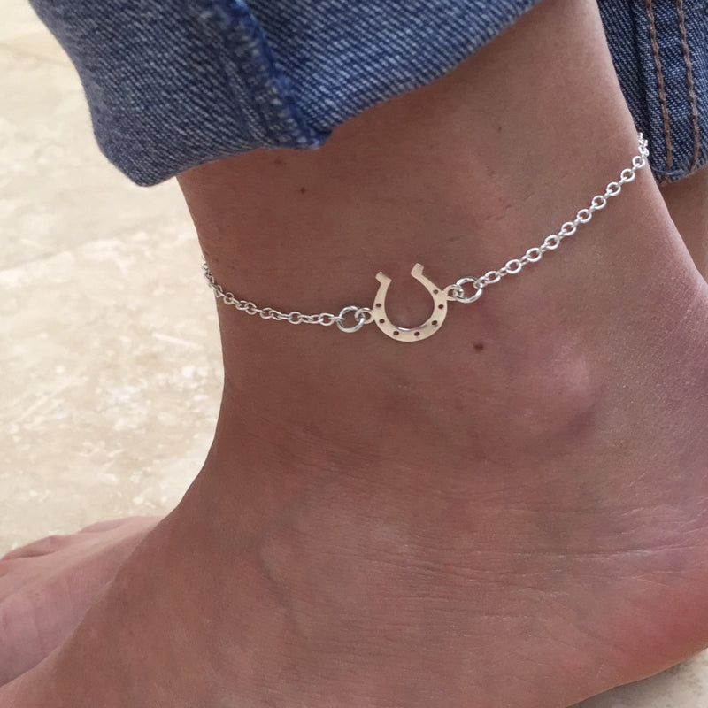 Silver Horseshoe Chain Anklet - KookyTwo