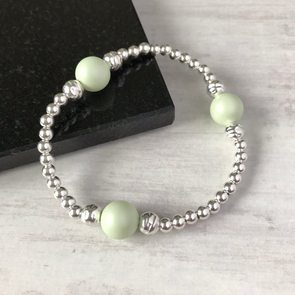 Silver Bead and Swarovski Green Pearl Bracelet