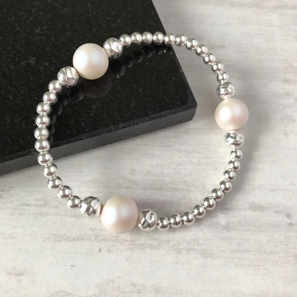 Silver Bead and Swarovski White Pearl Bracelet