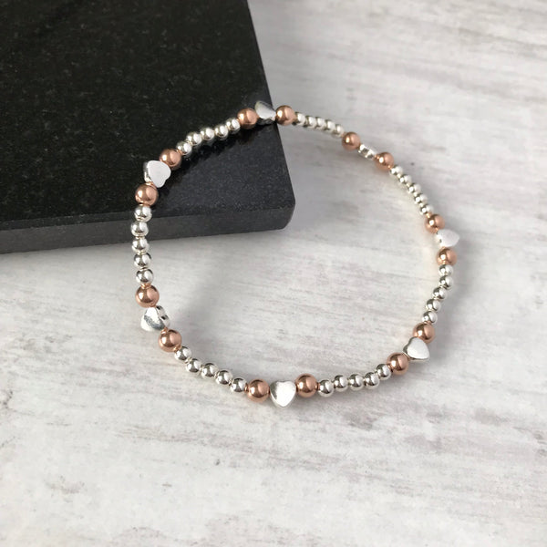 Silver and Rose Gold Bead Heart Bracelet