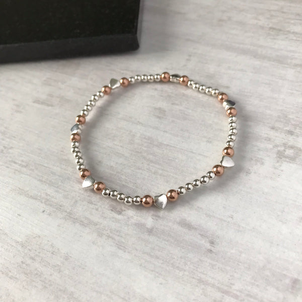 Silver and Rose Gold Bead Heart Bracelet - KookyTwo